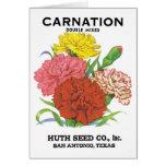 Vintage Seed Packet Label Art, Carnation Flowers Card