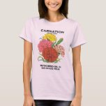 Vintage Seed Packet Label Art, Carnation Flowers T-Shirt
