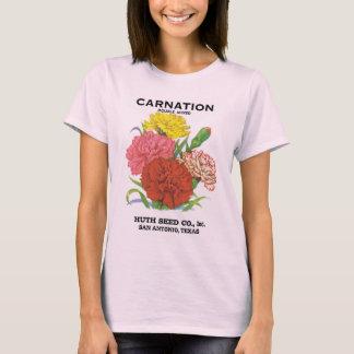 Vintage Seed Packet Label Art, Carnation Flowers T-Shirt