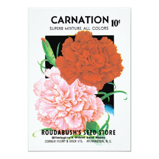 Vintage Seed Packet Label Art, Carnations Flowers 5x7 Paper Invitation Card