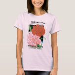 Vintage Seed Packet Label Art, Carnations Flowers T-Shirt