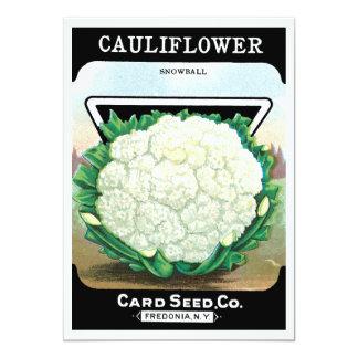 Vintage Seed Packet Label Art, Cauliflower Veggies Card