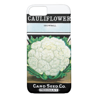 Vintage Seed Packet Label Art, Cauliflower Veggies iPhone 8/7 Case