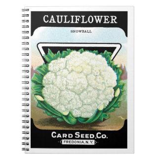 Vintage Seed Packet Label Art, Cauliflower Veggies Notebook