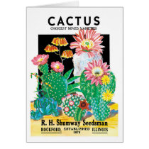 Vintage Seed Packet Label Art Desert Cactus Plants
