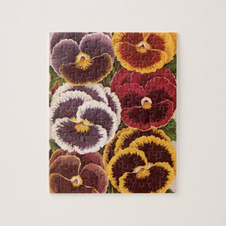 Vintage Seed Packet Label Art, Garden Pansies Jigsaw Puzzle