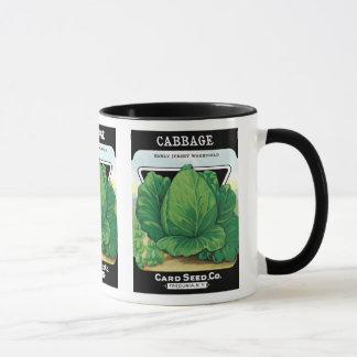 Vintage Seed Packet Label Art, Green Cabbage Mug