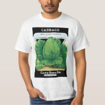 Vintage Seed Packet Label Art, Green Cabbage T-Shirt