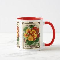 Vintage Seed Packet Label Art, Nasturtium Flowers Mug