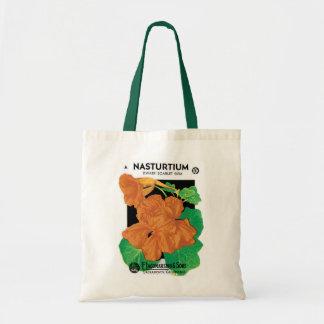 Vintage Seed Packet Label Art, Nasturtium Flowers Tote Bag