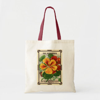 Vintage Seed Packet Label Art, Nasturtiums Tote Bag