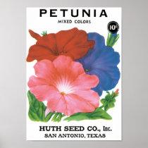 Vintage Seed Packet Label Art, Petunia Flowers