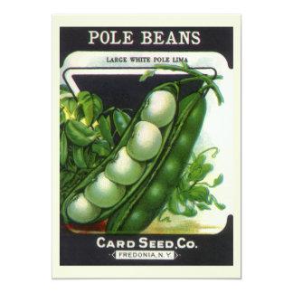 "Vintage Seed Packet Label Art, Pole Lima Beans 5"" X 7"" Invitation Card"