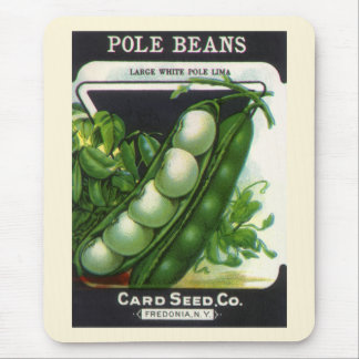 Vintage Seed Packet Label Art, Pole Lima Beans Mouse Pad