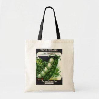 Vintage Seed Packet Label Art, Pole Lima Beans Tote Bag