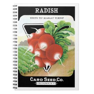 Vintage Seed Packet Label Art, Scarlet Radishes Notebook