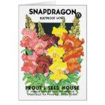 Vintage Seed Packet Label Art, Snapdragon Flowers Card