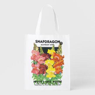 Vintage Seed Packet Label Art, Snapdragon Flowers Grocery Bag