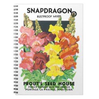 Vintage Seed Packet Label Art, Snapdragon Flowers Notebook