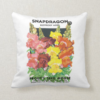 Vintage Seed Packet Label Art, Snapdragon Flowers Throw Pillow