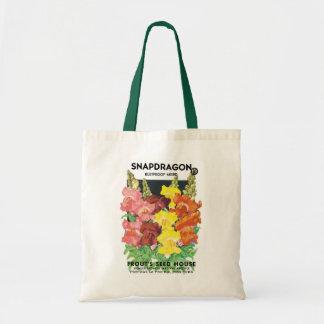 Vintage Seed Packet Label Art, Snapdragon Flowers Tote Bag