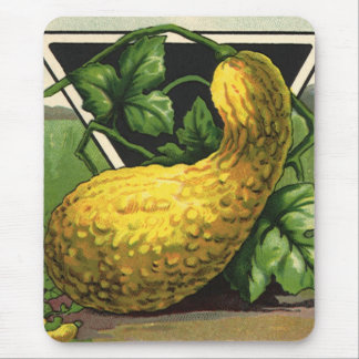 Vintage Seed Packet Label Art, Summer Squash Mouse Pad