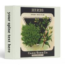 Vintage Seed Packet Label Art Sweet Marjoram Herbs 3 Ring Binder