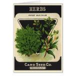 Vintage Seed Packet Label Art Sweet Marjoram Herbs Card