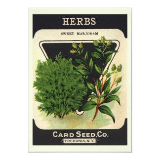 "Vintage Seed Packet Label Art Sweet Marjoram Herbs 5"" X 7"" Invitation Card"