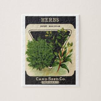 Vintage Seed Packet Label Art Sweet Marjoram Herbs Jigsaw Puzzle