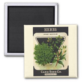 Vintage Seed Packet Label Art Sweet Marjoram Herbs Magnet