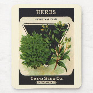 Vintage Seed Packet Label Art Sweet Marjoram Herbs Mouse Pad