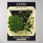 Vintage Seed Packet Label Art Sweet Marjoram Herbs Poster