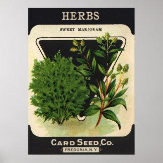 Vintage Seed Packet Label Art Sweet Marjoram Herbs Print