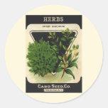 Vintage Seed Packet Label Art Sweet Marjoram Herbs Round Stickers