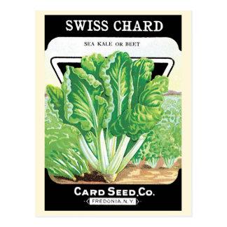 Vintage Seed Packet Label Art, Swiss Chard Veggies Postcard