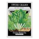 Vintage Seed Packet Label Art, Swiss Chard Veggies Poster