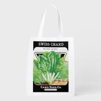Vintage Seed Packet Label Art, Swiss Chard Veggies Reusable Grocery Bag