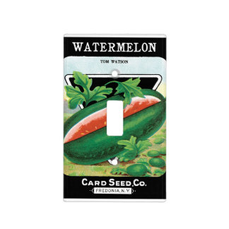 Vintage Seed Packet Label Art, Watermelons Light Switch Cover