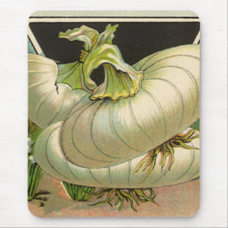 Vintage Seed Packet Label Art White Bermuda Onions Mouse Pad