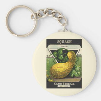 Vintage Seed Packet Label Art Yellow Summer Squash Keychain