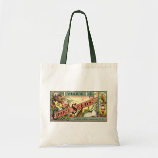 Vintage Seeds Packet Label Art, Vick's Choice Budget Tote Bag