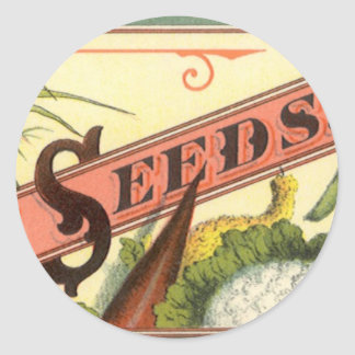 Vintage Seeds Packet Label Art, Vick's Choice Classic Round Sticker