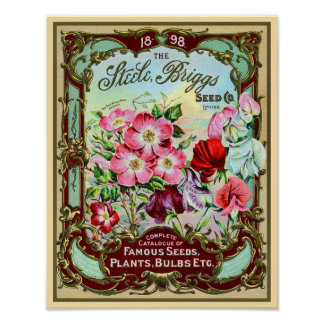 Vintage Seeds Plants and Bulbs Catalog Cover Poster