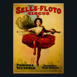 "Vintage Sells-Floto Circus Poster<br><div class=""desc"">Princess Victoria - Fantastic Wire Dancer. Restored and enhanced by Scenesfromthepast.com</div>"