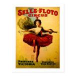 Vintage Sells-Floto Circus Poster Wire Walker Postcard