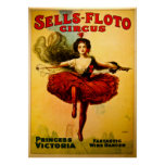 Vintage Sells-Floto Circus Wire Walker Poster