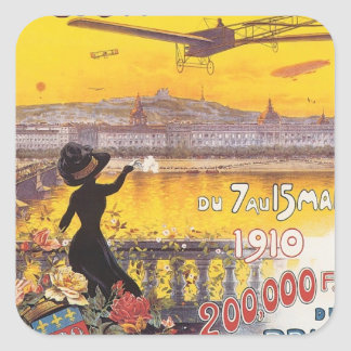 Vintage Semaine D'aviation Square Sticker