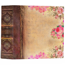 Vintage Sepia and Rose Floral Antique Book 3 Ring Binder