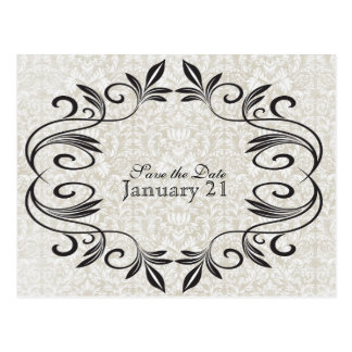 Vintage Sepia and Stylish Black Save the Date Postcard